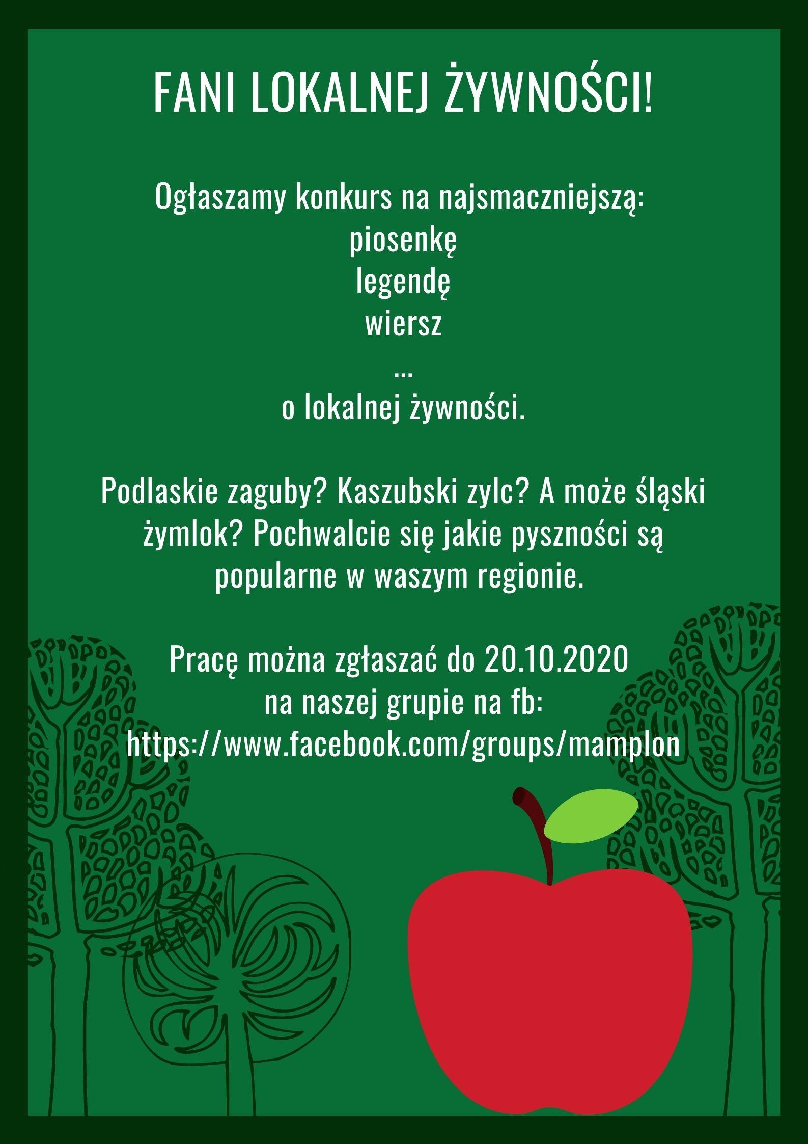 Plakat dot. konkursu na najsmaczniejszy utwór muzyczny lub literacki