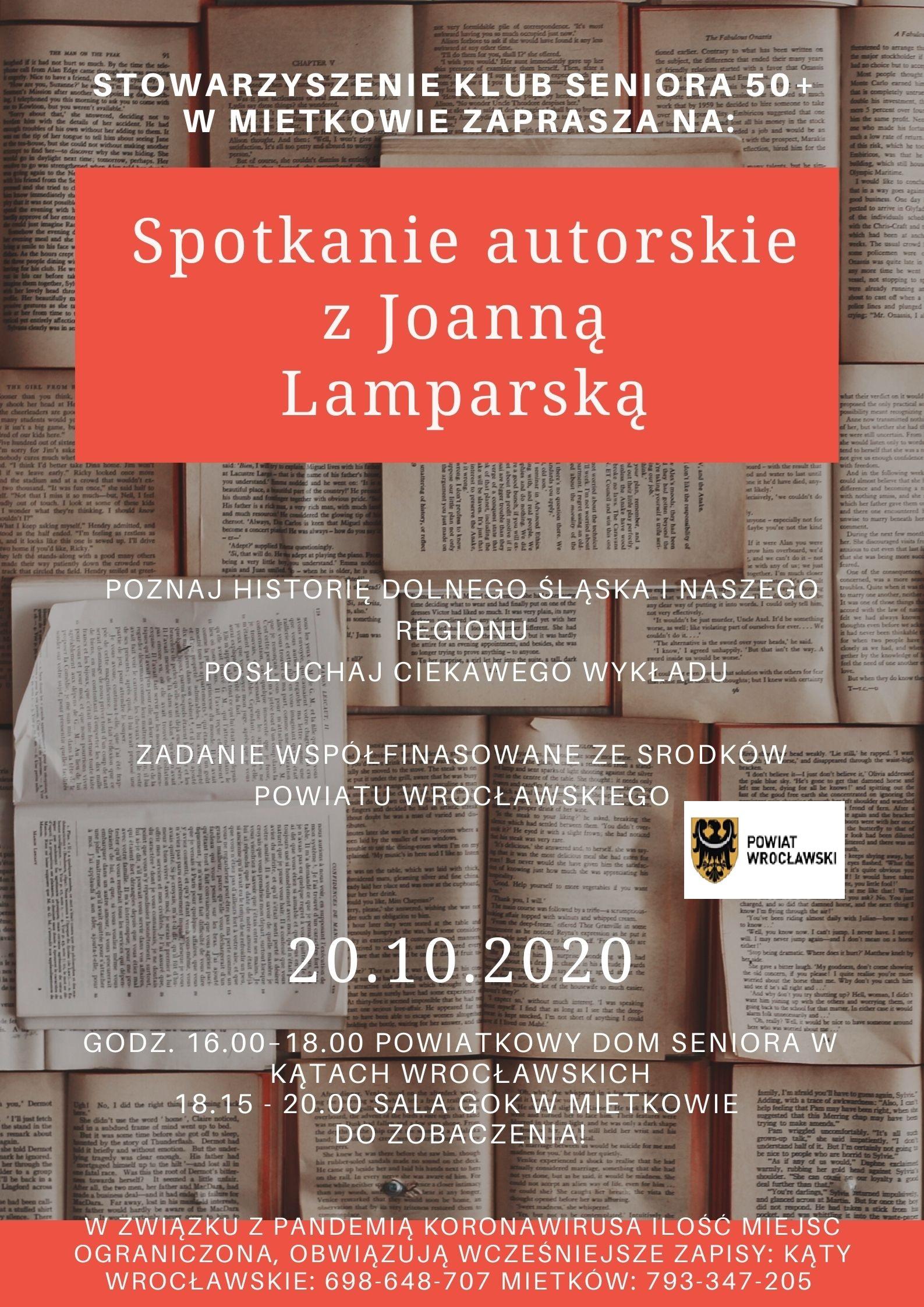 Plakat zapproszenie na spotkanie z Joanna Lamparską