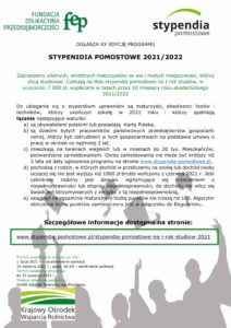 plakat dotyczący stypendiów