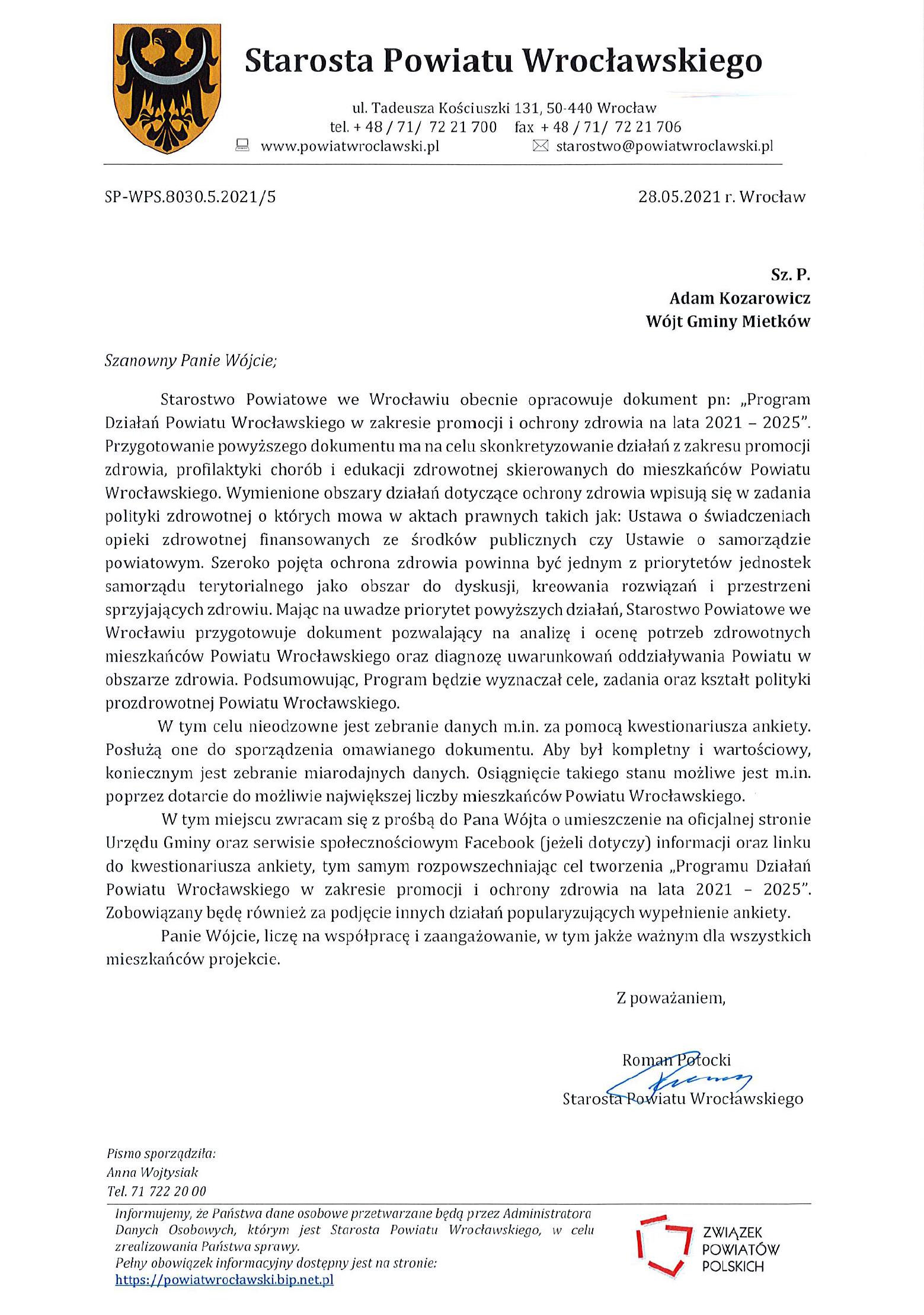 Pismo Starosty Powiatowego w sprawie Promocji Szczepień