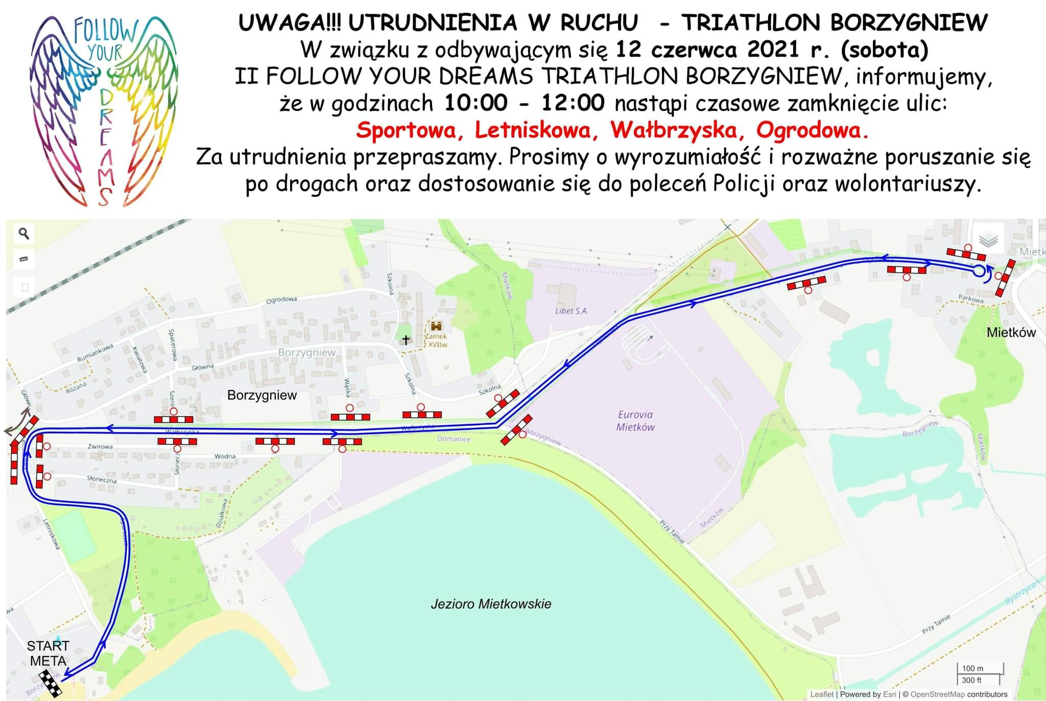 Triathlon 2021 plakat mapa zamknięte drogi